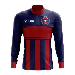 Laos Concept Football Half Zip Midlayer Top (Blue-Red)