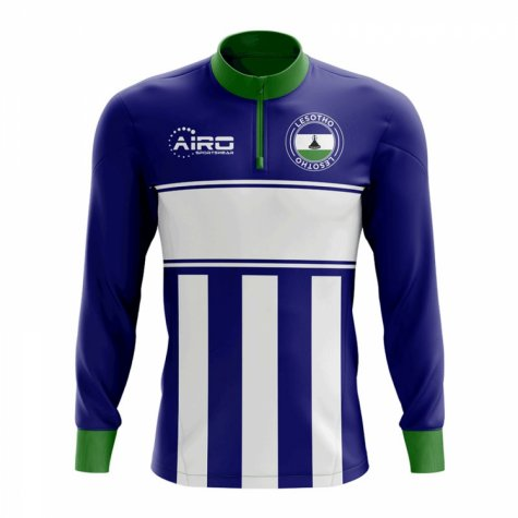 Lesotho Concept Football Half Zip Midlayer Top (Blue-white)