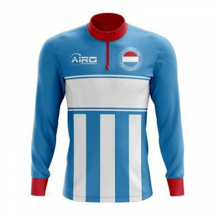 Luxembourg Concept Football Half Zip Midlayer Top (Sky Blue-Red)