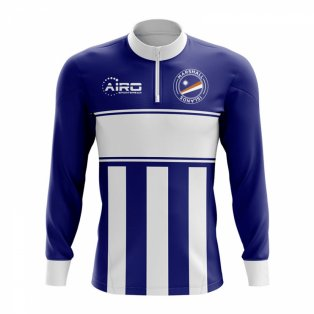 Marshall Islands Concept Football Half Zip Midlayer Top (Navy-white)