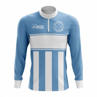 Micronesia Concept Football Half Zip Midlayer Top (Sky Blue-White)