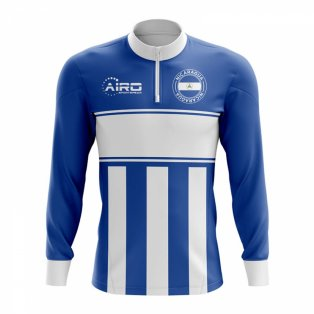 Nicaragua Concept Football Half Zip Midlayer Top (Blue-White)