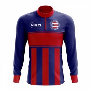 Puerto Rico Concept Football Half Zip Midlayer Top (Blue-Red)