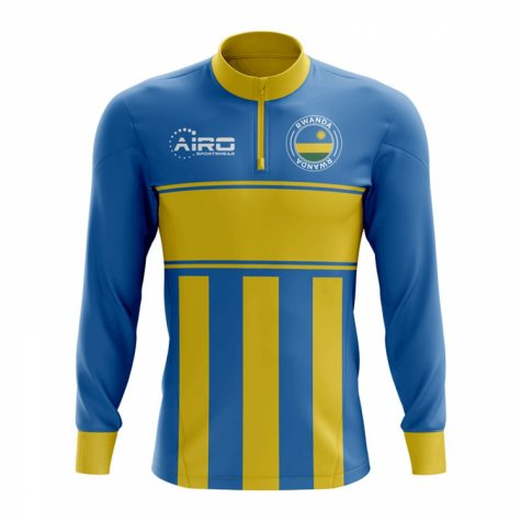 Rwanda Concept Football Half Zip Midlayer Top (Sky Blue-Yellow)