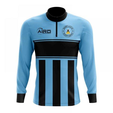 Saint Lucia Concept Football Half Zip Midlayer Top (Sky Blue-Black)