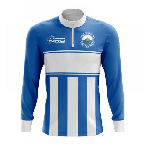 San Marino Concept Football Half Zip Midlayer Top (Blue-White)