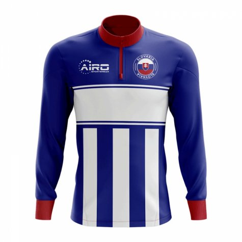 Slovakia Concept Football Half Zip Midlayer Top (Blue-White)