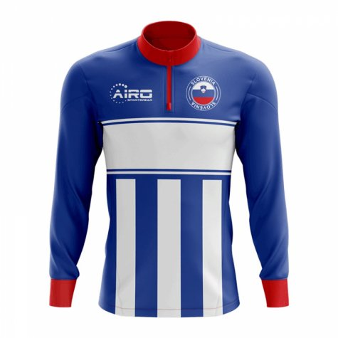 Slovenia Concept Football Half Zip Midlayer Top (Blue-White)