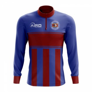 Swaziland Concept Football Half Zip Midlayer Top (Blue-Red)