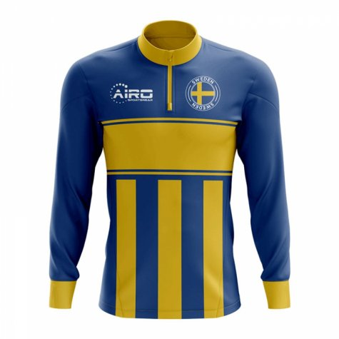 Sweden Concept Football Half Zip Midlayer Top (Blue-Yellow)