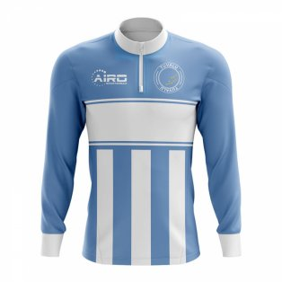 Tuvalu Concept Football Half Zip Midlayer Top (Sky Blue-White)