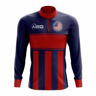 USA Concept Football Half Zip Midlayer Top (Blue-Red)