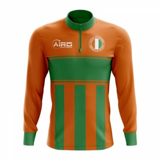 Cote d'Ivoire Concept Football Half Zip Midlayer Top (Orange-Green)