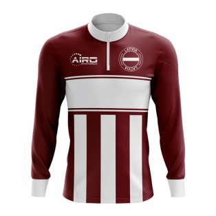 Latvia Concept Football Half Zip Midlayer Top (Maroon-White)