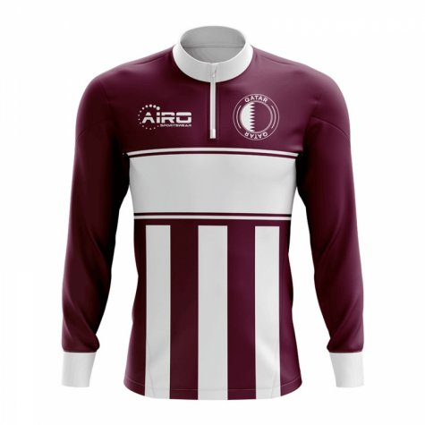 Qatar Concept Football Half Zip Midlayer Top (Burgundy-White)