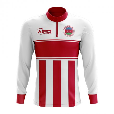 Azerbaijan Concept Football Half Zip Midlayer Top (White-Red)
