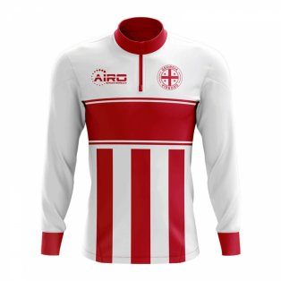 Georgia Concept Football Half Zip Midlayer Top (White-Red)