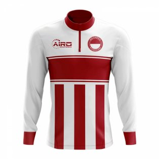 Indonesia Concept Football Half Zip Midlayer Top (White-Red)