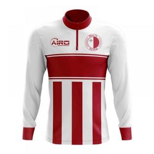 Malta Concept Football Half Zip Midlayer Top (White-Red)
