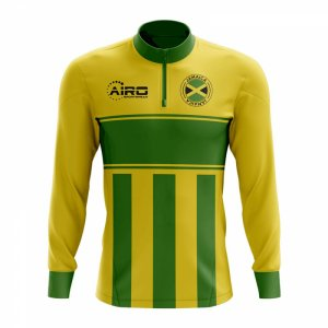 Jamaica Concept Football Half Zip Midlayer Top (Yellow-Green)