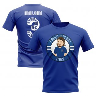 Paolo Maldini Italy Illustration T-Shirt (Blue)