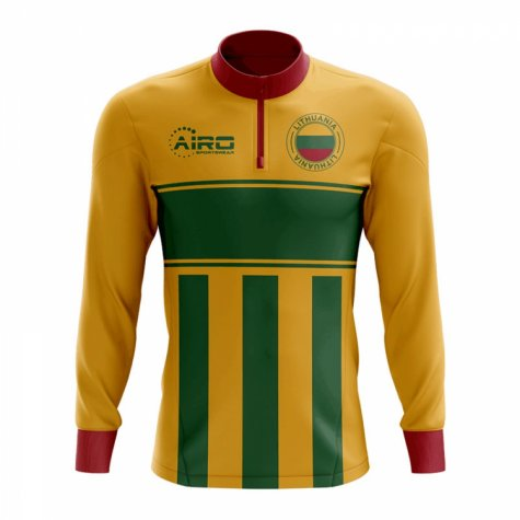 Lithuania Concept Football Half Zip Midlayer Top (Yellow-Green)