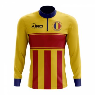Romania Concept Football Half Zip Midlayer Top (Yellow-Red)