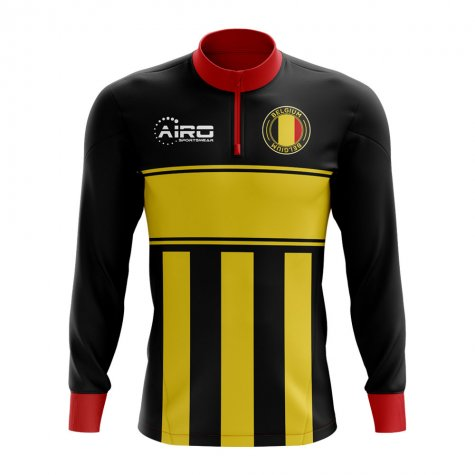 Belgium Concept Football Half Zip Midlayer Top (Black-Yellow)