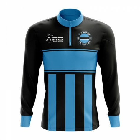 Botswana Concept Football Half Zip Midlayer Top (Black-Blue)