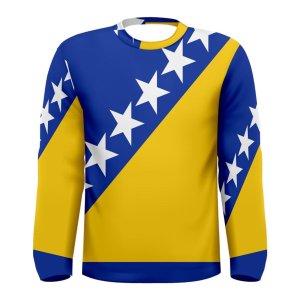 Bosnia Herzegovina Flag Long Sleeve Sublimated Sports Jersey