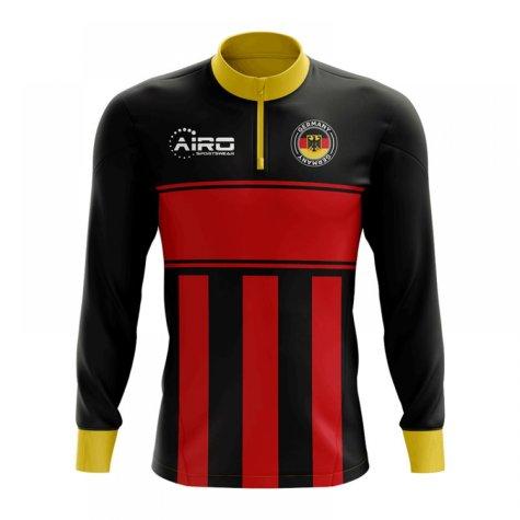 Germany Concept Football Half Zip Midlayer Top (Black-Red)