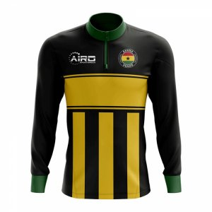 Ghana Concept Football Half Zip Midlayer Top (Black-Yellow)