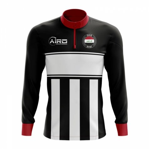 Iraq Concept Football Half Zip Midlayer Top (Black-White)
