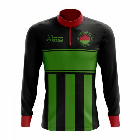 Malawi Concept Football Half Zip Midlayer Top (Black-Green)