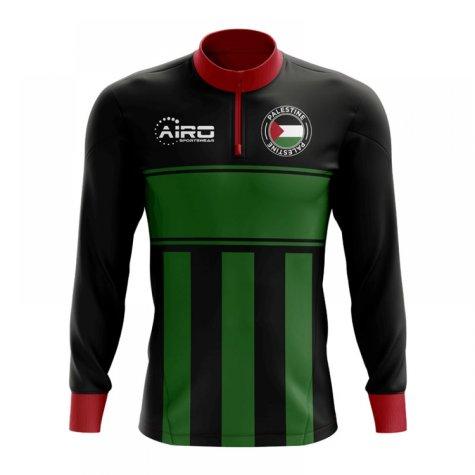 Palestine Concept Football Half Zip Midlayer Top (Black-Green)