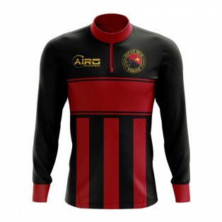 Papa New Guinea Concept Football Half Zip Midlayer Top (Black-Red)