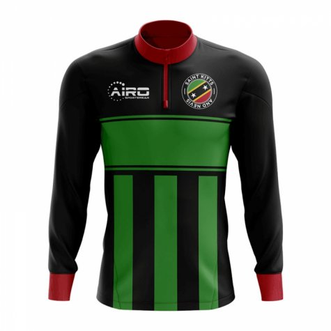 Saint Kitts and Nevis Concept Football Half Zip Midlayer Top (Black-Green)