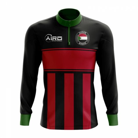 Sudan Concept Football Half Zip Midlayer Top (Black-Red)