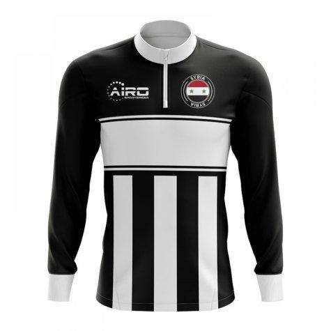 Syria Concept Football Half Zip Midlayer Top (Black-White)