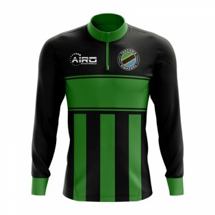 Tanzania Concept Football Half Zip Midlayer Top (Black-Green)