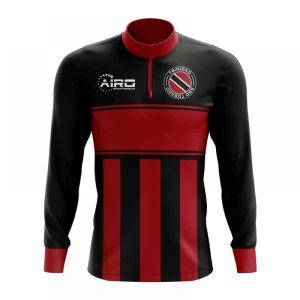 Trinidad and Tobago Concept Football Half Zip Midlayer Top (Black-Red)