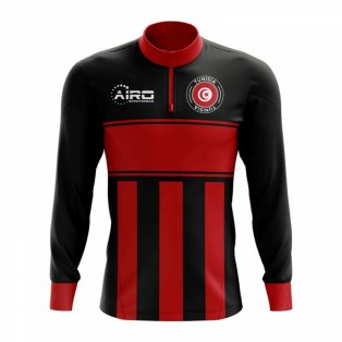 Tunisia Concept Football Half Zip Midlayer Top (Black-Red)