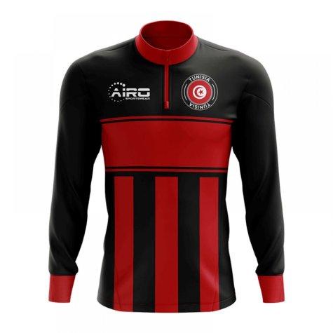 Tunisia Concept Football Half Zip Midlayer Top (Black-Red)