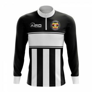 Uganda Concept Football Half Zip Midlayer Top (Black-White)