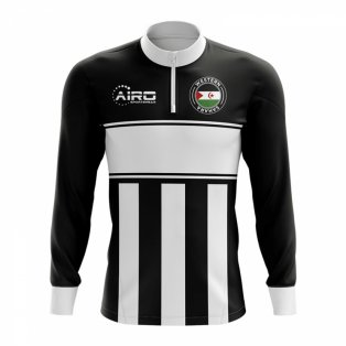 Western Sahara Concept Football Half Zip Midlayer Top (Black-White)