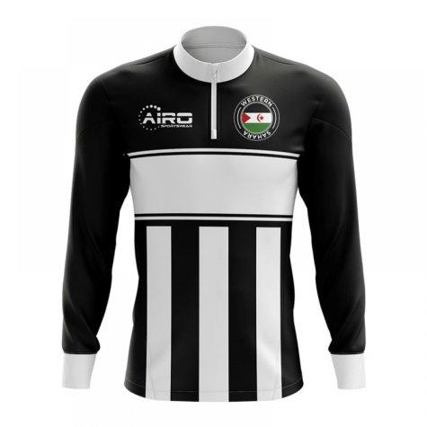 Western Sahara Concept Football Half Zip Midlayer Top (Black-White)
