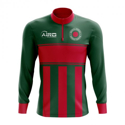 Bangladesh Concept Football Half Zip Midlayer Top (Green-Red)