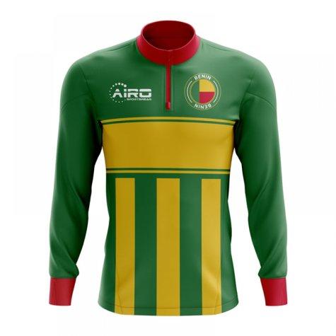 Benin Concept Football Half Zip Midlayer Top (Green-Yellow)