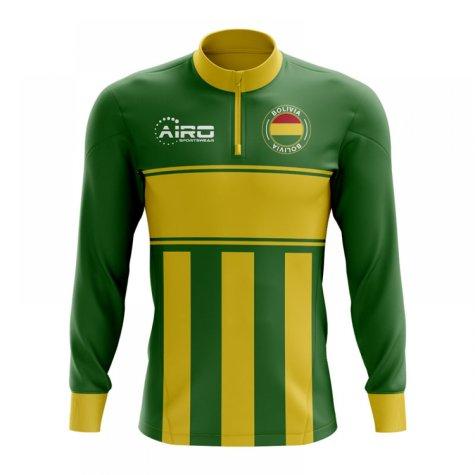Bolivia Concept Football Half Zip Midlayer Top (Green-Yellow)