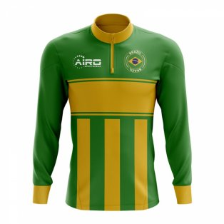 Brazil Concept Football Half Zip Midlayer Top (Green-Yellow)